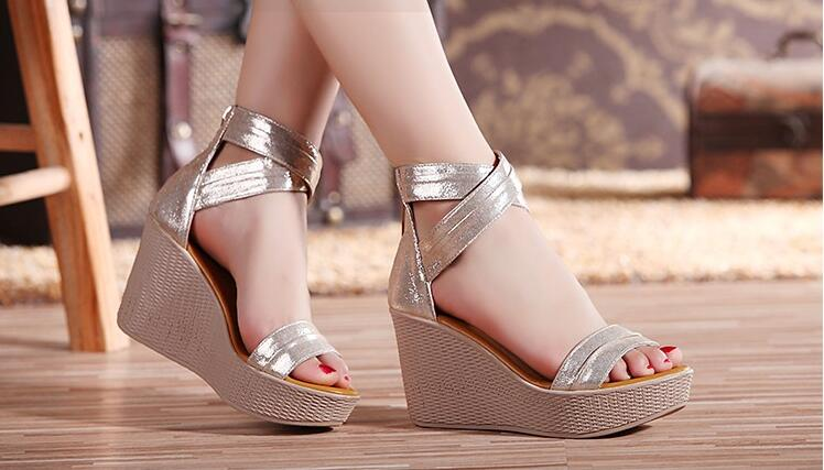 Women 39 s sandals high heels summer thick soled wedge shoes open toe ladies beach shoes fashion comfortable large size 34 41 C038 in High Heels from Shoes