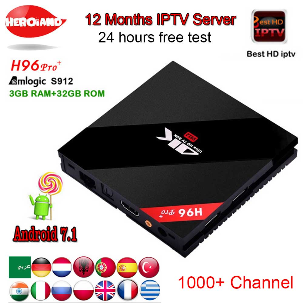 Italy iptv French iptv Box New H96 Pro+ 3G/32GB S912 Android 7.1 TV BOX HD Smart tv+1 Year europe IPTV server 1000+ iptvChannels best hd 1 year arabic europe french iptv italy belgium 1300 live channels av cable for tv box android 7 1 smart tv box s912 box