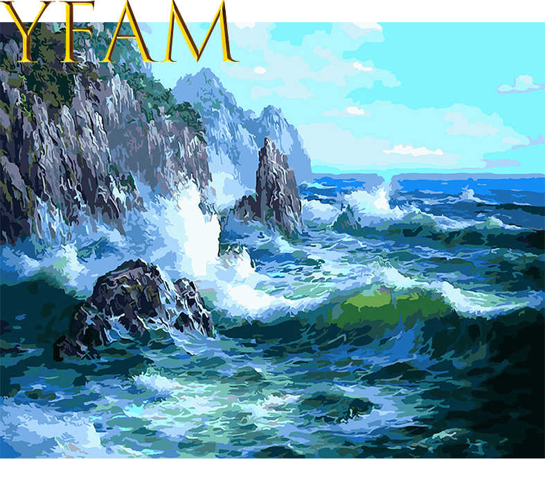 Chinese Style Modern On Canvas DIY Oil Painting By Numbers Kits HandPainted Mountain And Sea Waves Landscape Pictures Home Decor