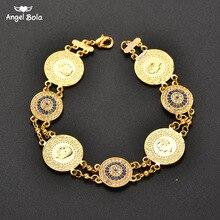 Браслет с кристаллами ГОЛУБЫЕ злые глаза Монета браслет Исламские мусульманские Арабские монеты браслет для женщин мужчин Ближний Восток Аллах Ювелирные изделия Подарки