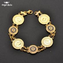 Kristall Blau Bösen Augen Geld Münze Armband Islamischen Muslimischen Arabischen Münzen Armband für Frauen Männer Mittleren Östlichen Allah Schmuck Geschenke