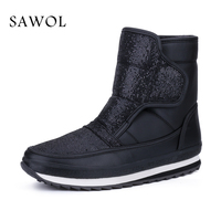 Sawol Women Winter Boots Mid Calf Boots Brand Women Winter Shoes Waterproof Big Size High Quality