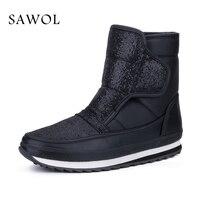 Sawol Women Winter Boots Mid Calf Boots Brand Women Winter Shoes Waterproof Big Size High Quality