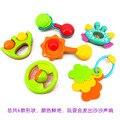 6 unids/lote Nuevo Bonito Plástico Juguetes Para Bebés de Mano juguetes Shake Anillo de Bell Sonajeros de Bebé Juguetes Educativos Del Envío libre
