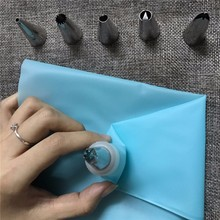 Silicone Kitchen Accessories Icing Piping Cream Pastry Bag + 6 Stainless Steel Nozzle Set DIY Cake Decorating Tips Set D0213
