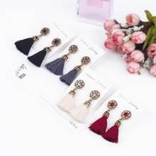 Flower Crystal Tassel Earrings