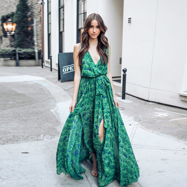 58a153a8a6c2 Bohemian Floral Maxi Dress Summer Green Retro Vintage V Neck Sexy Boho Long  Dress Elegant Women Beach Dresses Robe Longue Femme