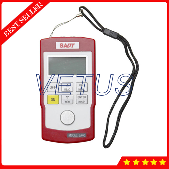 SA40 0.7-300.0mm SA40 4 digits LCD backlight Display Ultrasonic Thickness Gauge for wall ...