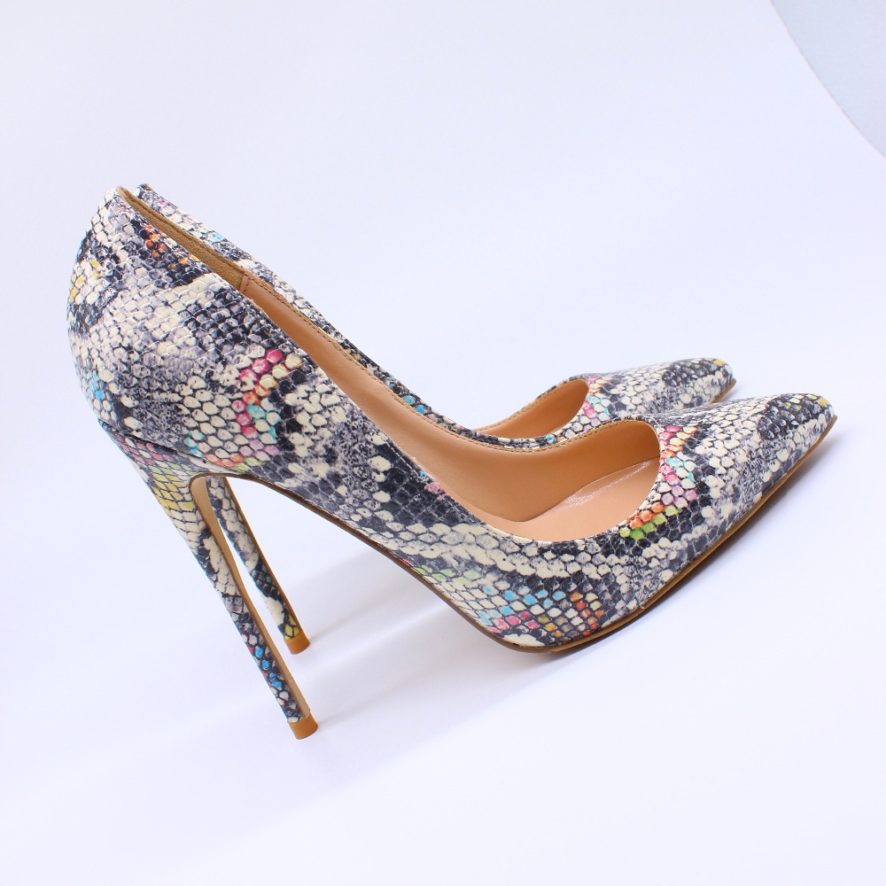 Trasporto libero donne di modo pompe serpente pitone stampato punta aguzza tacchi alti sandali scarpe stivali sposa wedding pompe 12 cm 10 cm-in Pumps da donna da Scarpe su  Gruppo 1