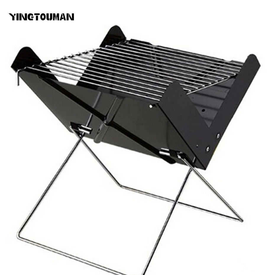 все цены на YINGTOUMAN Portable Folding BBQ Grill Outdoor Charcoal Stove for Camping Picnic Hiking 30*26.5*30cm онлайн