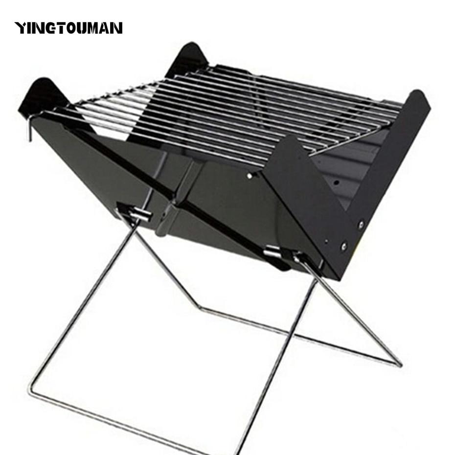 YINGTOUMAN Portable Folding BBQ Grill Outdoor Charcoal Stove for Camping Picnic Hiking 30*26.5*30cm недорго, оригинальная цена