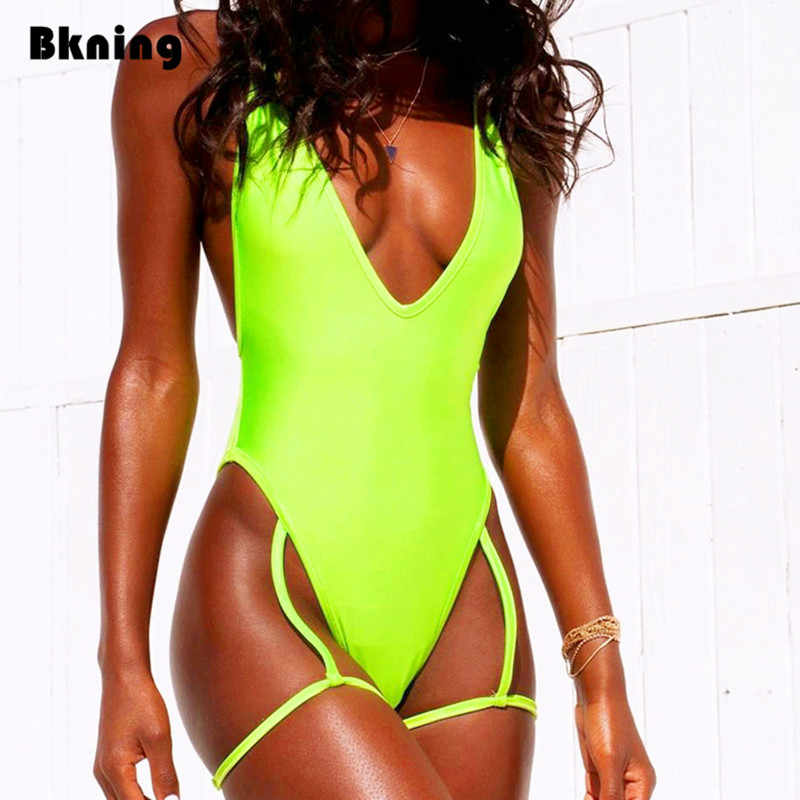 75e5ade55fc ... Sexy Thong Swimming Suit for Women One Piece Swimsuit High Leg Monokini  Sling Neon Swimsuits Sheer ...