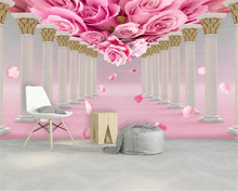 beibehang Custom 3D wallpaper Modern Stereo Roman column Pink yellow rose Wall Fashion Living Room Home decoration 3d
