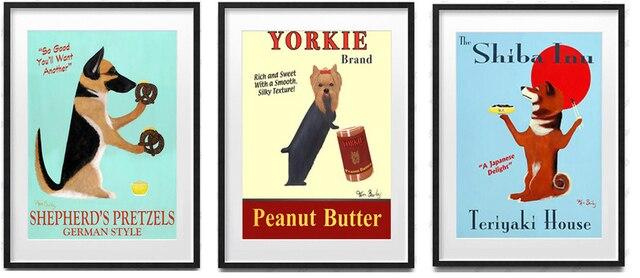 vintage posters mural print cute dogs shiba inu yorkie shepherd