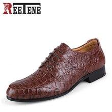 Плюс Размеры 49 50 Cuir véritable Мужские модельные туфли из воловьей кожи Дышащая обувь на плоской подошве Роскошные картины крокодила острый носок Мужская обувь