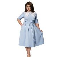 Autumn Dress Plus Size Women Clothing Blue Party Dresses Women Lace Dress 5XL 6XL Adjustable Flare Dress robe femme ete 2017