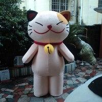Venta caliente Encantadora Sonriente Gato de Dibujos Animados Carácter traje de La Mascota del vestido de Lujo/Del Partido del traje tamaño Adulto