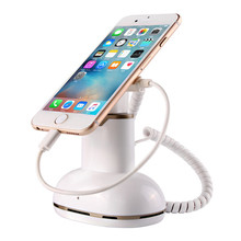 CJ7000 white color shining abs cellphones tablets charger holder with alarm function in retail shop security display
