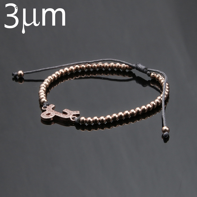3umeter Bracelet Female Custom Zodiac 12 Sign Rose Gold Copper Beads Knit Adjule Delicate Valentine