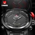 Reloj de pulsera con doble pantalla de marca SWAVES reloj de pulsera Digital LED resistente al agua para hombre reloj de pulsera con banda de acero reloj Masculino