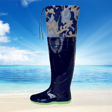 Outdoor men's waterproof planted fishing wading rainboot shoes knee Boots high barrel catch fish pant boots dig lotus trousers