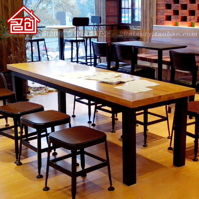 American Iron Cafe Wood Long Table Restaurant Starbucks Dining And Chairs Combination Computer Desk Leisure