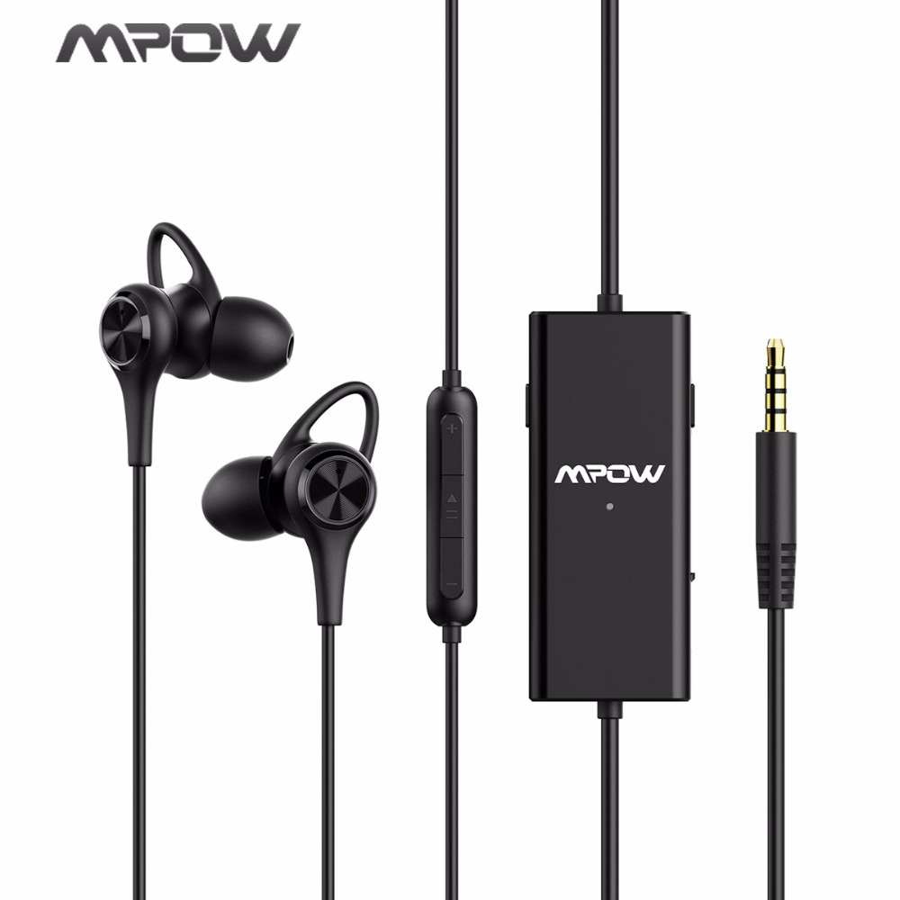 Mpow 2018 New Wired Earphones Active Noise Cancelling Headset Wide Compatibility Earphone With Mic And Potable Carrying Case