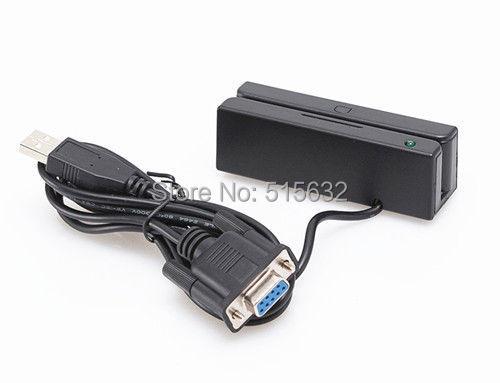 Novo portátil RS232 MSR100 Hi / Lo co cartão de tarja magnética Mini leitor 3 faixas