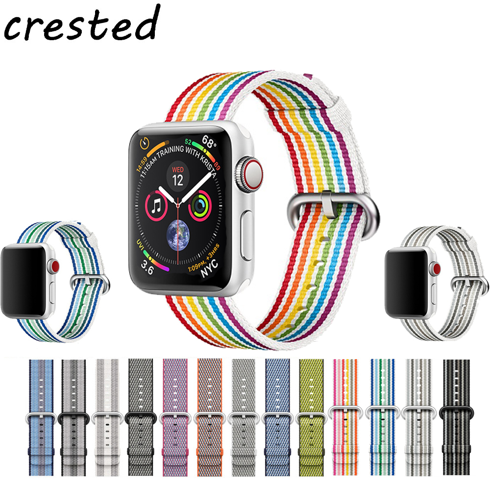 CRESTED Sport woven nylon strap for apple watch band 42mm 38mm 44mm 38mm bracelet wrist belt watchband for iwatch 4/3/2/1 crested woven nylon strap for apple watch band 42mm 38mm leather iwatch series 3 2 1 wrist bands bracelet watchband belt 2018