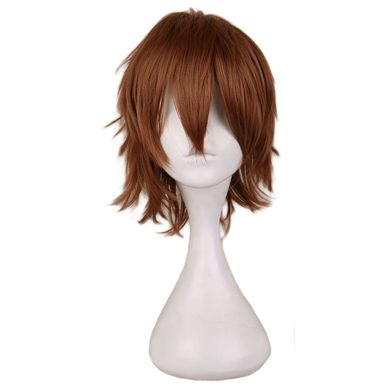 QQXCAIW Short Cosplay Light Brown Wig Men Male 30 Cm Synthetic Hair Wigs