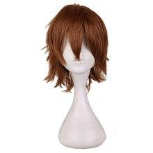 QQXCAIW, короткий коричневый мужской парик, 30 см, синтетические волосы