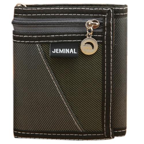 Casual Trifold Short Wallet Men Boy Canvas Fashion Purse Vertical Patchwork Design Burse Male Card Coin Holder Money Bags