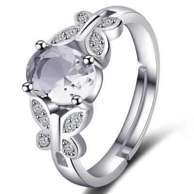 3 สีผีเสื้อสีขาว/แดง/แชมเปญ Mystic แหวนเงิน-สี Morgan หินโกเมนแหวนงานแต่งงานแหวนหมั้นสำหรับสตรี