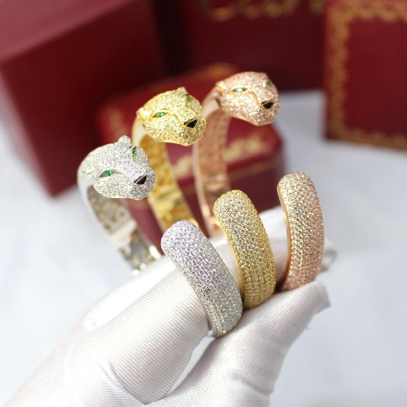 Luxus übertreibung accessorised mit leopard armband micro gold rose gold silber stretch öffnen cheetah armband für frauen-in Armreifen aus Schmuck und Accessoires bei  Gruppe 1