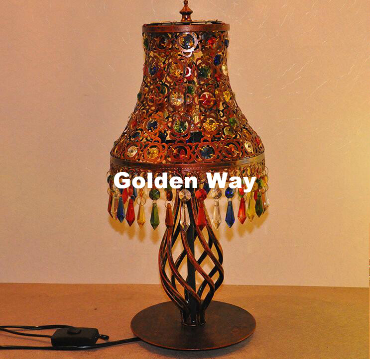 Free Shipping Red Colorful Table Lamp Vintage Personality Creative Bohemia Desk Lamp Living Room Bedroom Bedside Art Deco Light innovation and unique ice block desk table lamp creative small ice lamp g9 220v free shipping