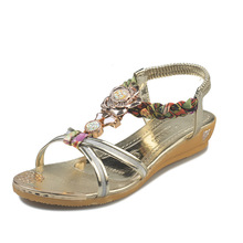 Summer Shoes Sweet Womens Flowers Flat Sandals High Quality Rhinestones Casual Flats Plus Size 35-40 Sandalias