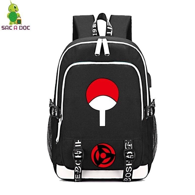 Naruto Uchiha Clan Sasuke Multifunction Backpack Women Men USB Charging Laptop Backpack School Bags Casual Travel Bags