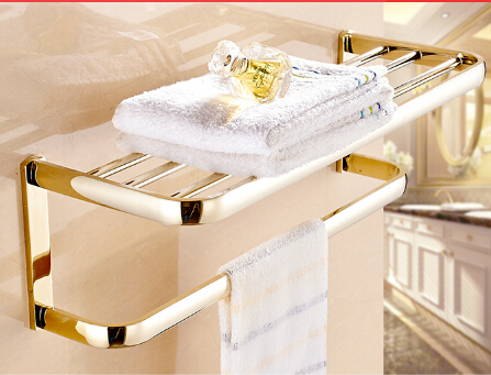High Quality Gold Fixed Bath Towel Holder Wall Mounted Towel Rack Brass Towel Shelf Bathroom Accessories 2016 high quality oil black fixed bath towel holder brass towel rack holder for hotel or home bathroom storage rack rail shelf