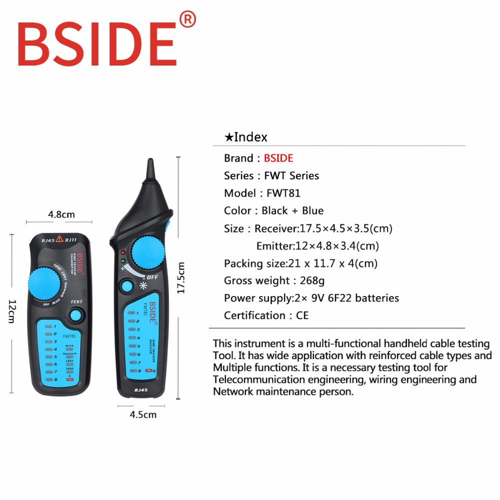 bside fwt81 cable tracker rj45 rj11 telephone wire network lan tv tester rj45 rj11 telephone wire network lan tv cable electric wire [ 1000 x 1000 Pixel ]