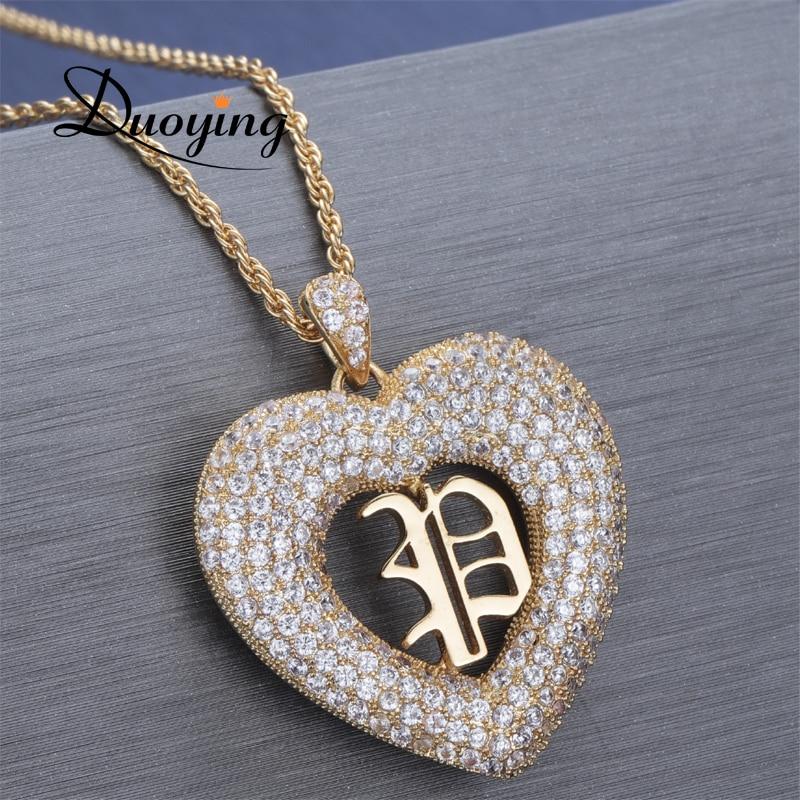 Duoying Collana Del Cuore di Amore You pendente con la lettera iniziale della collana sorella inglese font