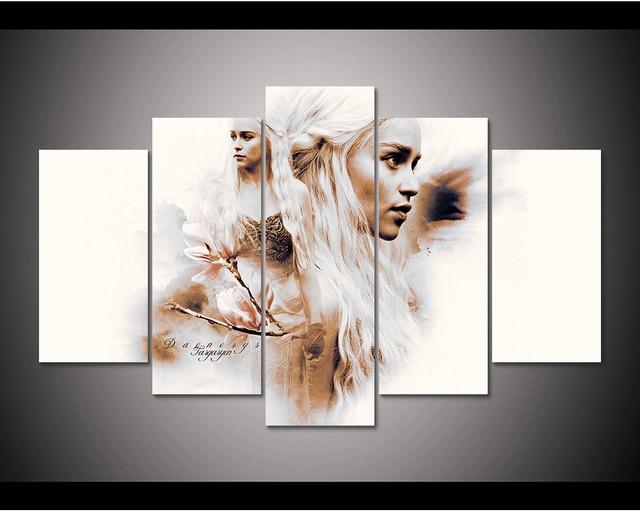 5 Piece Printed Canvas Game of Thrones daenerys targaryen painting ...