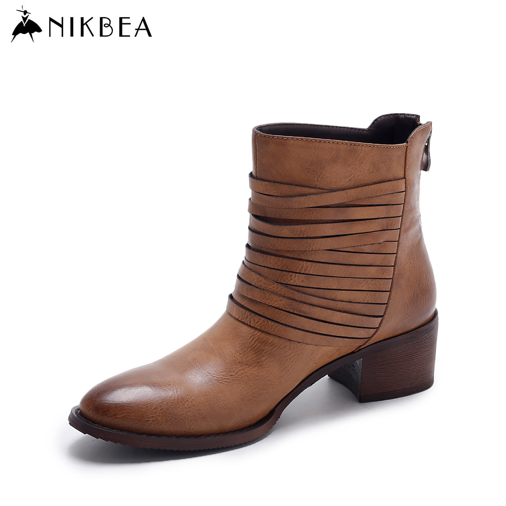 Nikbea Vintage Western Boots Cowboy Ankle Boots for Women Pointed Toe Boots Winter 2016 Autumn Shoes Pu Chunky Low Heel Booties women boots 2017 autumn winter women s shoes pu leather ankle boots cowboy western pointed toe punk boots ladies big size