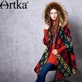 Artka mujeres otoño nueva geométrica jarquard vendimia abrigo de lana cuello de piel de mapache con capucha abrigo de manga tres cuartos fa10561d