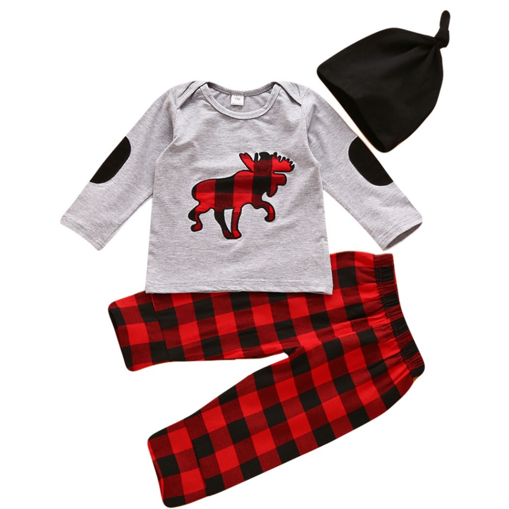 Baby Clothing Sets 2017 Autumn Baby Boy Clothes Long Sleeve Deer Print Tops T-shirt Long Sleeve + Pants + Hat 3Pcs Clothing Set