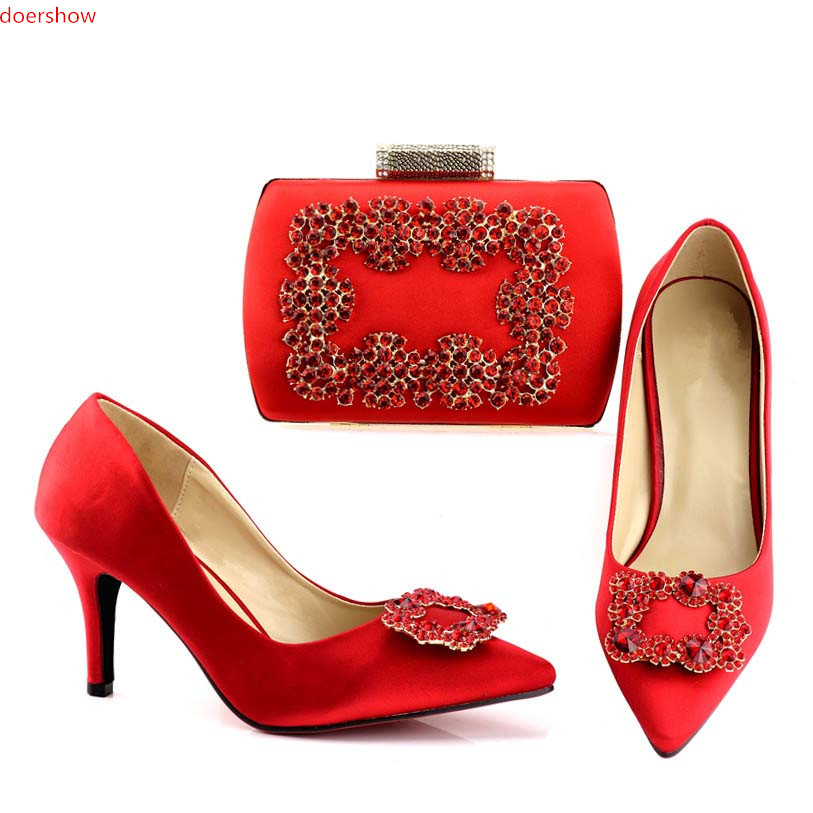 doershow  Nice Italian Matching Shoes And Bag Set African Style Ladies red Shoes And Bag To Match For Wedding Dress!HV1-71 shoes and bag to match italian matching shoe and bag set african wedding shoes and bag to match for parties doershow hlu1 37