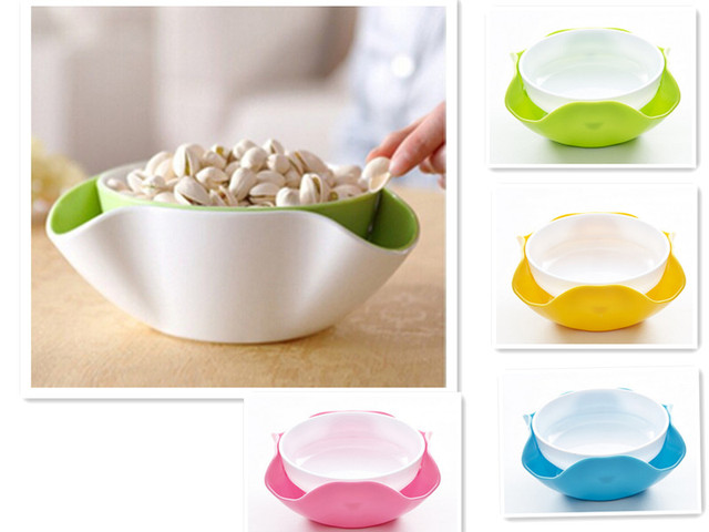 Us 17 59 2 In 1 Fruit Bowl Plastic Compote Double Snack Nuts Serving Tray Small Decoration Plate Dish For Kitchen Living Room 4 Colors In Dishes