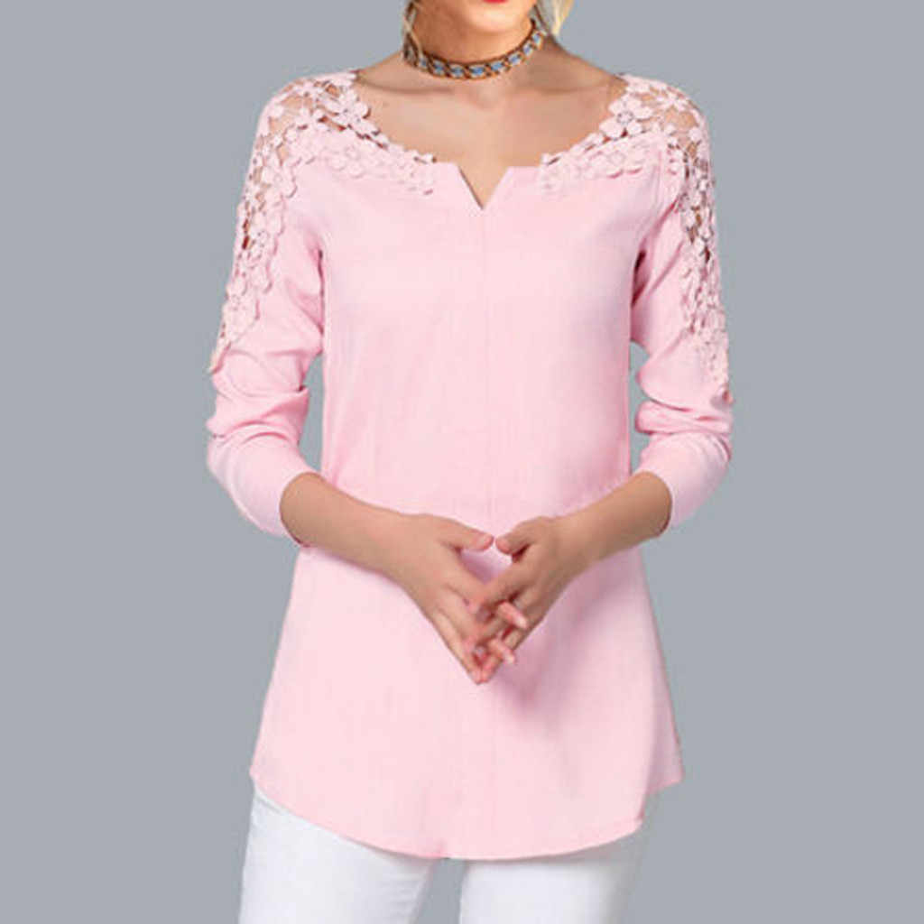 Fashion Women Blouses Plus Size Solid Blouse Lace Splice Shirt Cold Shoulder Blouse Top Blusas Femininas Womens Blouses Hot Sale