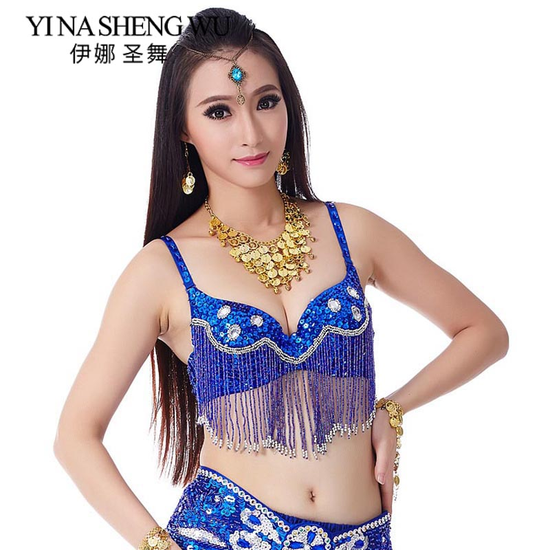 New 1PC Belly Dance Bra Sequins Diamonds Brassiere Dancing Bra Tassel Hanging Beaded Belly Dancing Stage & Dance Wear 9 Colors