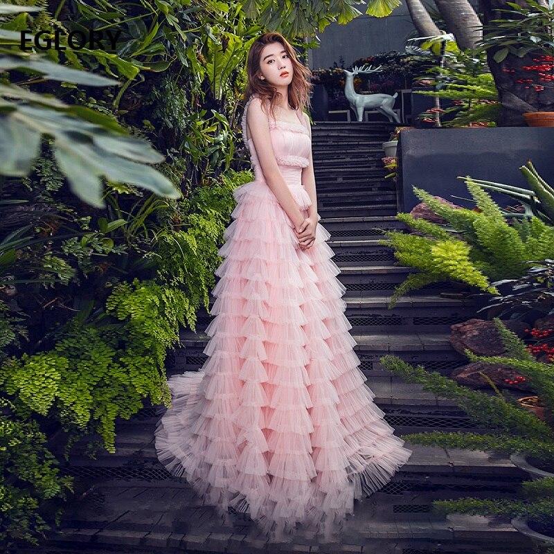 Robe longue rose 2019 printemps été douce dames robe de bal filles Spaghetti sangle à volants en cascade fête Maxi robe Lolita