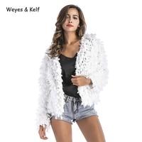 Weyes & Kelf Autumn Hand Knitted Crochet Jackets Christmas Party 2018 Winter Warm Knitwear Cardigan Lace Sweater Woman Coat